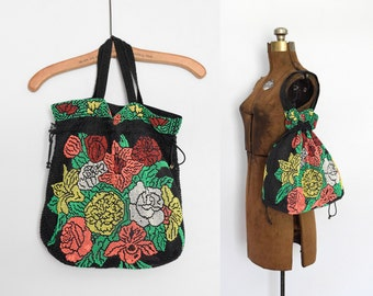 1970s Beaded Bouquet Drawstring Handbag Tote