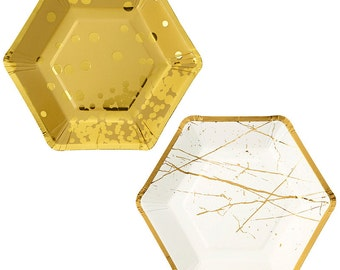 8 Gold Hexagonal shaped party plates.