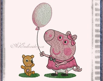 """Peppa Pig - Machine Embroidery Designs Set for a Babies and Children of a series """"Old Toy"""""""