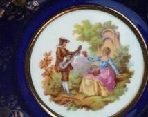"French Limoges Plate - Vintage Blue Fragonard Musical Gold Design Porcelain - Made in France Collectible Display 6"" Plate -Home Decor"