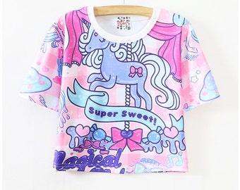 Pony short screen print T-shirt