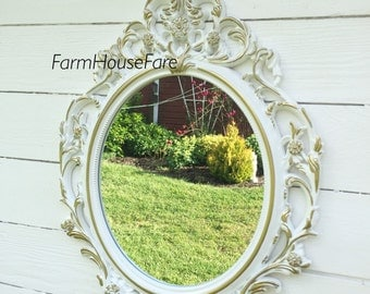 Wall Mirror, Shabby Chic Mirror Baroque Ornate Oval Wall Mirror Hollywood Regency Wedding Photo Prop White with Gold