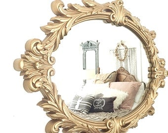 Antique Mirror, Oval Mirror Gold Shabby Chic Mirror, Ornate Mirror, Large Wall Mirror, Vintage Mirror, Bathroom Nursery Mirror