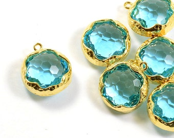 Aqua Blue Glass Pendant, Round Blue Pendant, Aquamarine Color with Hammered Finished Frame in Anti-tarnish Gold Plating  - 2 pcs/ order