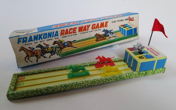 Franconia Raceway Game, tin wind-up with plastic horses