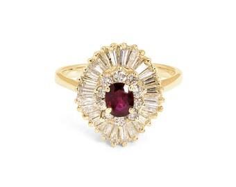 14K Gold, Ruby & Diamond Ballerina Ring - Wow!