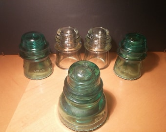 Vintage Glass Insulators.  A Lot of 5