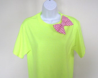 Bow T-shirt, Select Bow Color Short Sleeve Cotton Tee, Tshirt with Bow, Women TShirt, Teen T-shirt