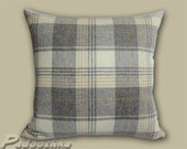 "18""Kincraig Natural. Luxurious, soft grey tweed cushion cover, tartan style, wool. Fabric from Moon&Sons Ltd."