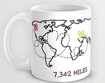 Personalized 11oz/ 15oz mug cup designed PinkMugNY - Long Distance Love - World Map