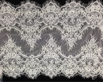 Chantilly corded Lace, off white Lace Fabric,wedding lace for Veil, Dress, Costume, Craft Making, 3 yards/piece