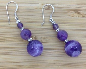 Sterling Silver Amethyst Earrings  4mm 8mm 12mm