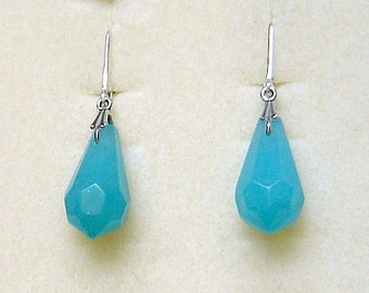 Sterling Silver & Teal Blue Chalcedony Drop Earrings