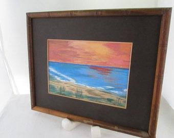 Vintage Original Oil Painting of Cape Cod Beach Scene in Faux Bamboo Frame Original Beach Art Beach scene art Original Art Framed Art