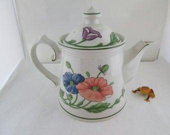 Villeroy and Boch Amapola Teapot German china teapot V and B china Villeroy Boch teapot fine china floral teapot flower teapot coffee pot