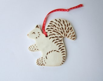 Squirrel Ornament, Clay Ornament, Christmas Ornament