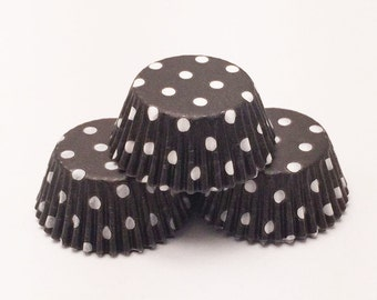48 Black with White Polka Dots Standard Size Cupcake Liners Baking Cups Greaseproof