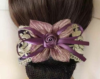 Elegant Oversized Bow Barrette with Net Snood, hair bun cover, big hair bow barrette
