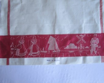 1950s Irish linen damask tea towel