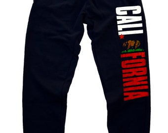 New California beast Men's Joggers Sweatpants Fitted Black S-2XL