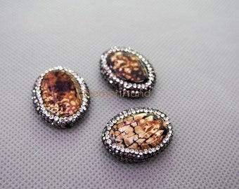 Brown Leopard Agate Beads Free-form Center Drilled Bead with Rhinestone Pave Edge  MU150907870