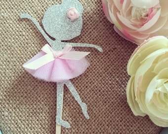 Ballerina Cupcake topper, dancer cupcake topper, Glitter Tutu Cupcake Toppers, ballerina picks, dancer picks, Pink and Gold Party decoration