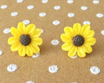 "SALE Handmade ""Sunflower Bloom""  Yellow Sunflower Earrings with Brown Center"