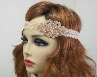 Flapper Headpiece Art Deco Headband 1920s Headpiece Downton Abby Headband Beaded Art Deco Beaded Headband Roaring 20s