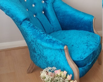 Shabby Chic Vintage Armchair in Turquoise