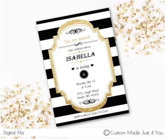 black and white stripe party invite