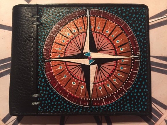 Men's leather hand painted wallet - compass