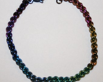 Handmade Niobium Chain Maille Chainmaille Bracelet Jens Pind Weave  Rainbow Colors 20 gauge jump rings
