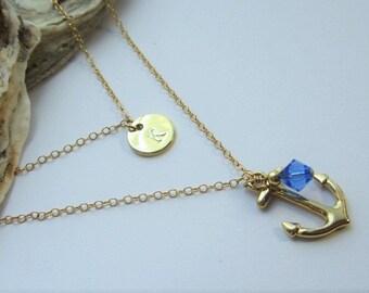 Gold Layered Anchor Necklace - 14kt Gold-Filled - Swarovski