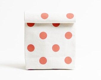 Kamibukuro/Polka dot-Vermilion/paper bag shape multipurpose pouch, travel goods organizer