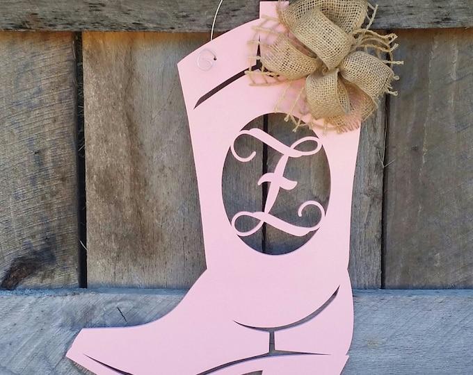 Boot Door Hanger - Personalized Boot - Painted Initial Door Hanger - Cowboy Boot - Cowgirl Boot - Western Door Hanger -