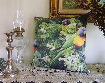 LORIKEET TRIO Cushion Cover, animal pillow, animal cushion, wildlife cushion, decorative pillow, unique photo cushion, australian