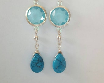 Gorgeous handmade earrings, turquoise, aquamarine, silver, one of a kind, bridal earrings