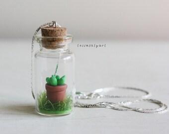 Succulent bottle charm necklace