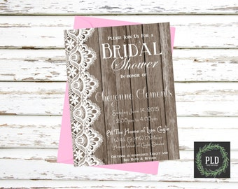 "5x7"" Country Chic Bridal Shower Invitation, Country Chic Bridal Shower, Country Bridal Shower, Vintage Bridal Shower"