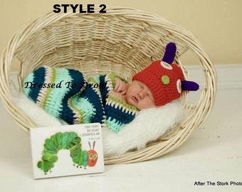 Baby Boy Girl Crochet Hungry Caterpillar Hat Cocoon Costume Set.  Photography Props