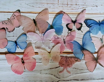 Edible Butterflies Pastel Pink and Blue Cake/Cupcake Topper Set of 16