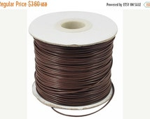 20% OFF SALE- 10 Yards Coffee Brown Korea Wax Cord Bracelet Necklace Cord 1mm (No. CN1)-Flat rate worldwide