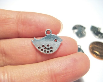 Antique Silver Double Sided Bird Charms Pendants