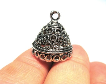 5pcs Antique Silver Filigree Tassel Caps Cone Bead Caps 13mm