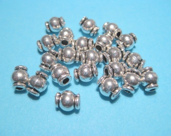 50pcs Antique Silver Barrel Spacer Beads 6mm Metal Spacer beads