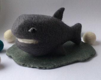 Needle felted shark. Felt shark. Fiber art. Needle felting gift.