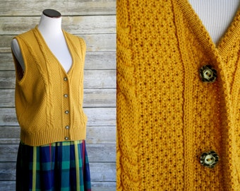70's mustard yellow sweater vest. Large, cable knit gold heart button up sleeveless cardigan. Large, XL