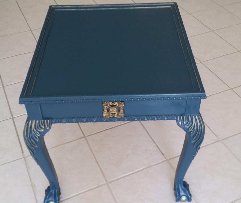 vintage light navy blue end table lamp table side table navy. Black Bedroom Furniture Sets. Home Design Ideas