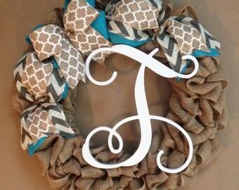 Spring wreath, burlap wreath, summer wreath, personalized mothers day gift, initial door hanger