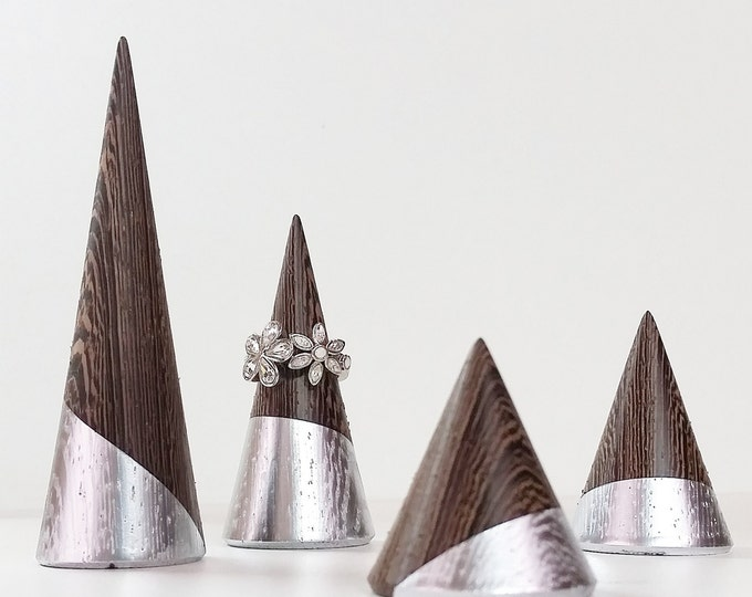 "Ring Cone Set "" Wenge - Silver "" Version Jewelry Display Fun Ring Organizer Ring Display Ring Stand Home And Decoration Jewelry Storage"